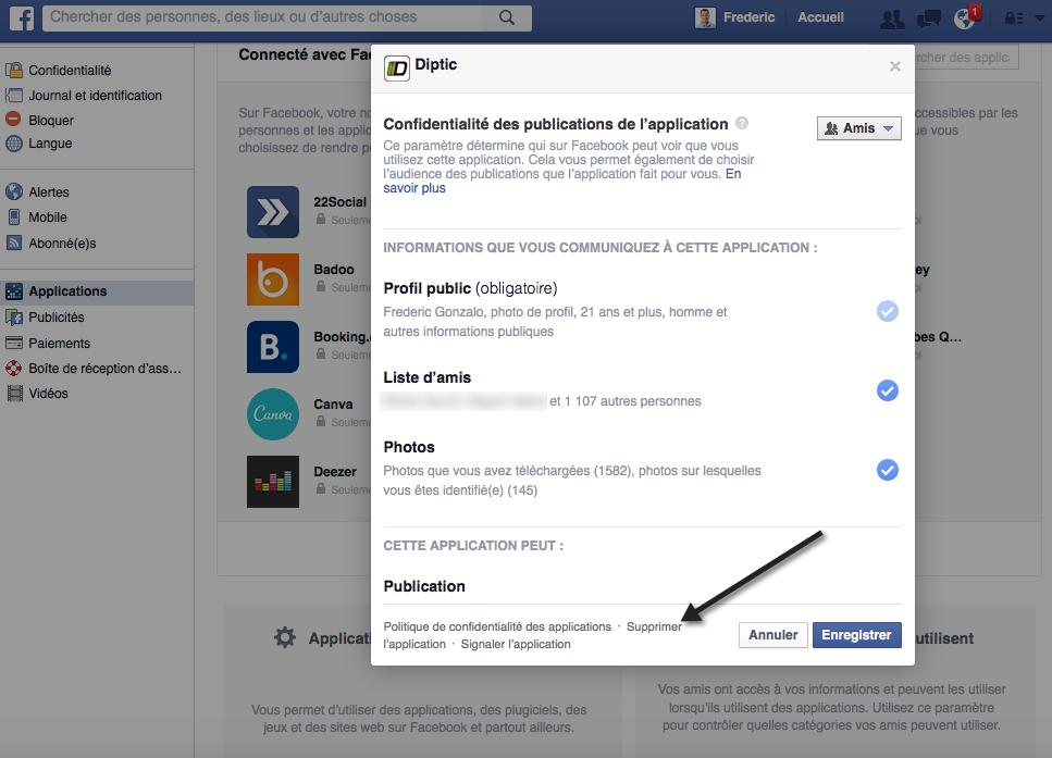 Gérer les accès permis aux applications dans Facebook