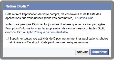 Supprimer une application dans vos accès Facebook