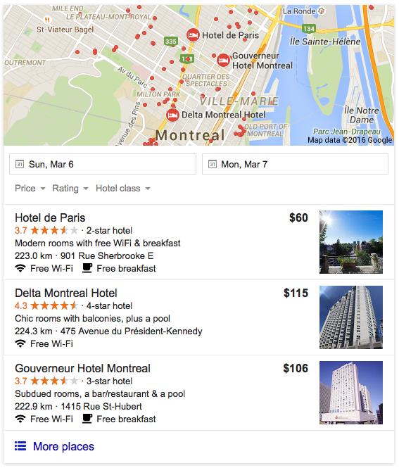 """""""3-pack"""" de résultats suggérés par Google"""