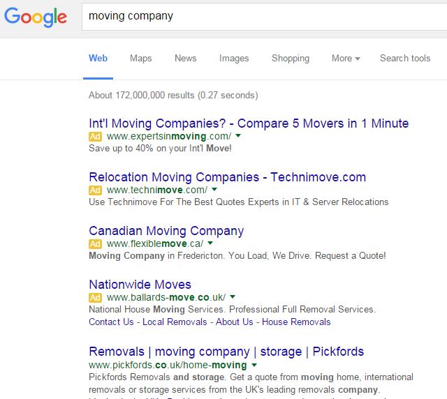 4 publicités AdWords dans Google