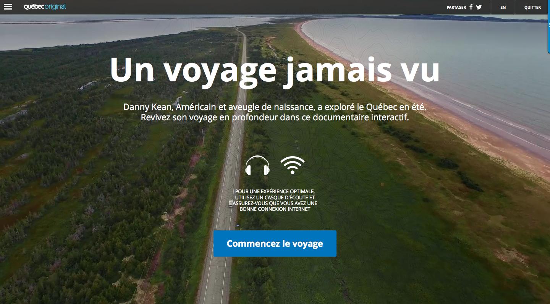 Documentaire interactif de Tourisme Québec: Un voyage jamais vu!