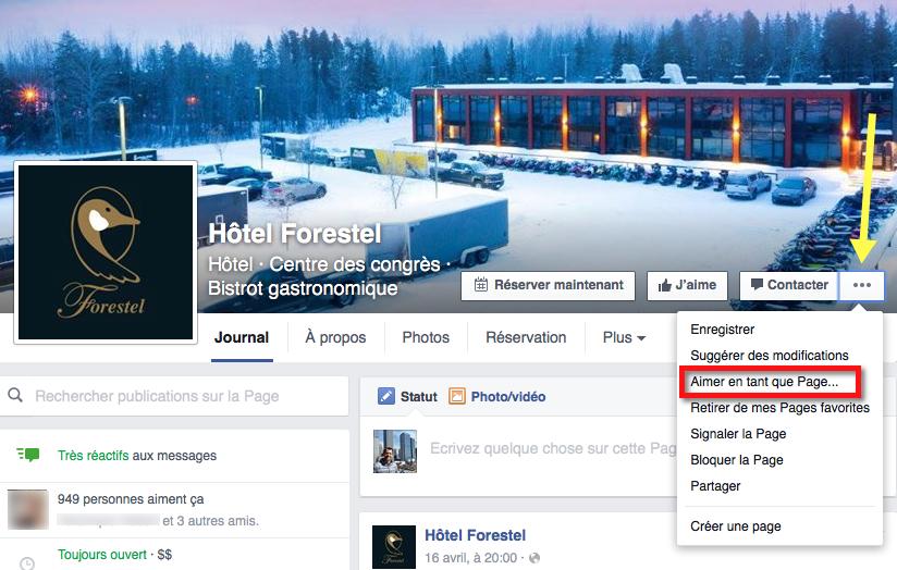 Comment aimer une page en tant que page sur Facebook
