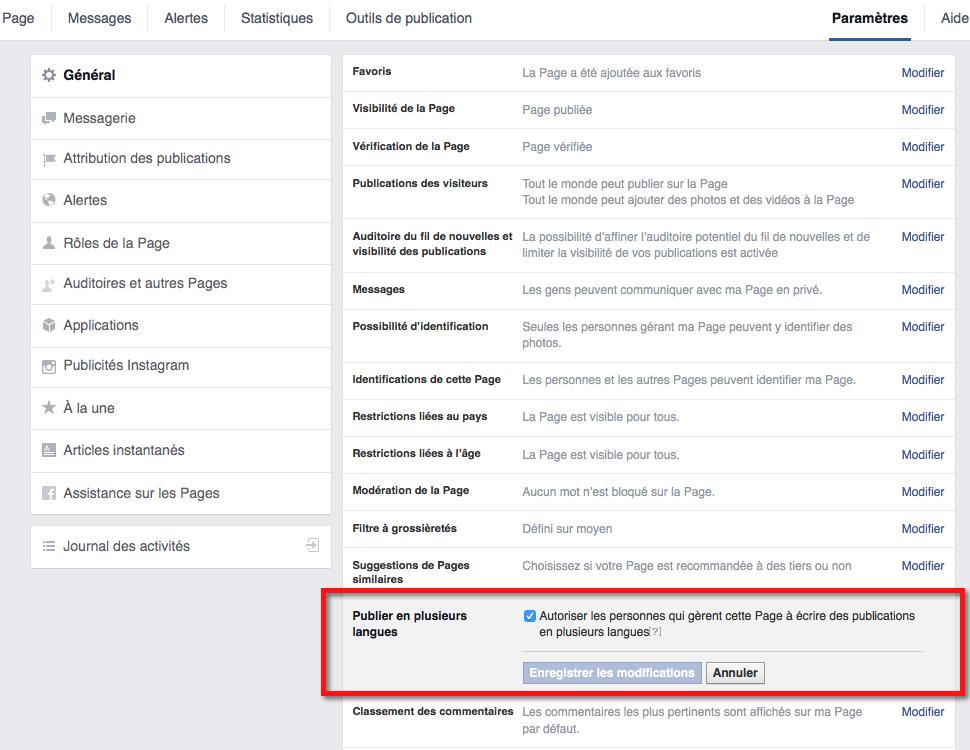 Paramètres de page dans FB