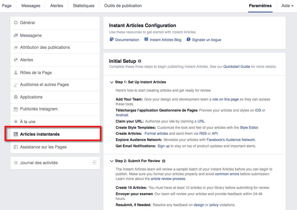 Comment installer les articles instantanés sur Facebook
