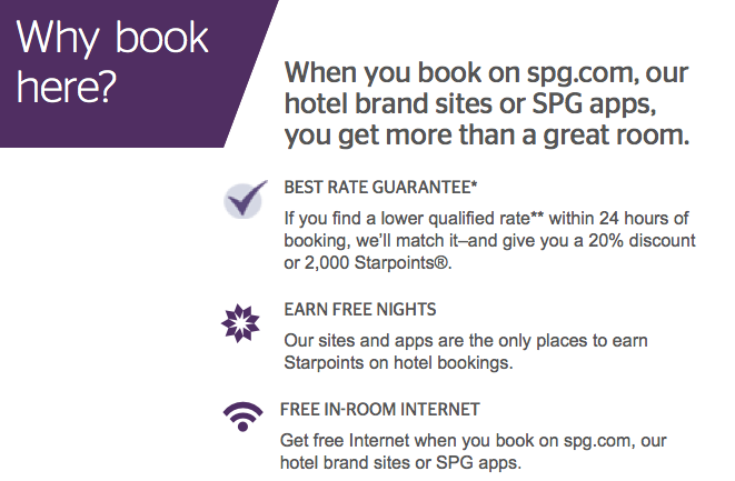 Best Rate Guarantee, at Starwood Hotels