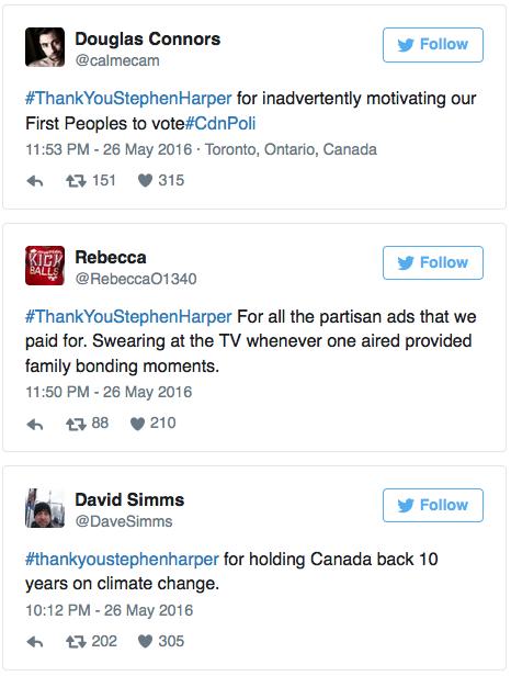 La campagne #ThankYouStephenHarper qui dérape...