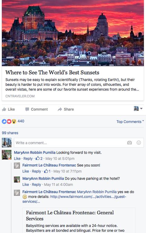 Fairmont Le Chateau Frontenac responds actively on FB