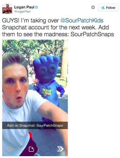 Initiative influenceurs de Sourpatchkids sur Snapchat