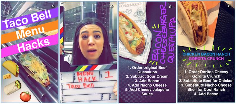 Hack de menus Taco Bell sur Snapchat