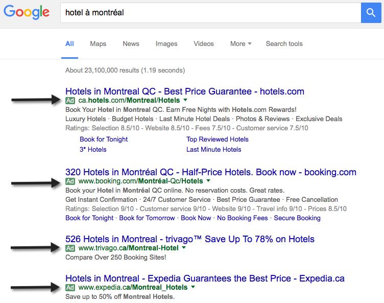 Exemple de publicité AdWords s'affichant dans le résultat des recherches Google
