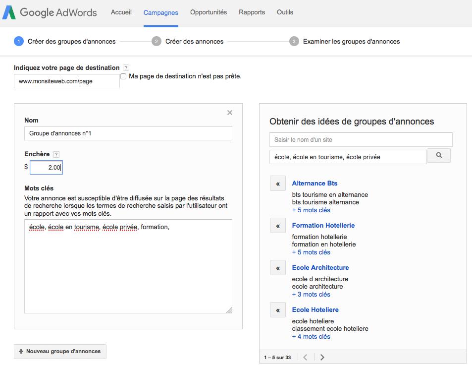 Créer des groupes d'annonces sur Google AdWords