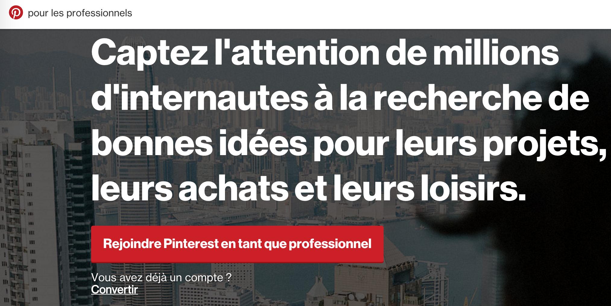 Compte Pinterest professionnel