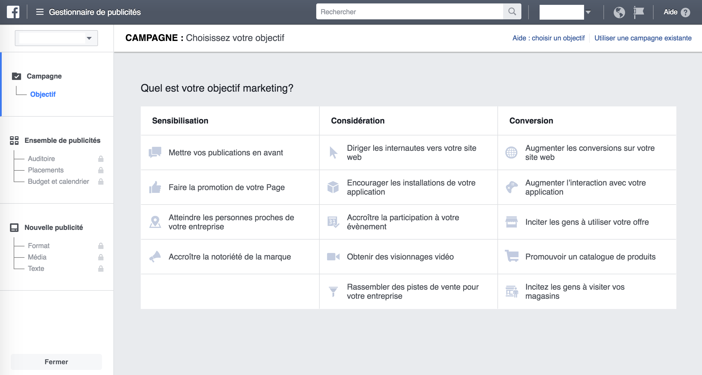 Les types de campagnes publicitaires possibles sur Facebook, novembre 2016