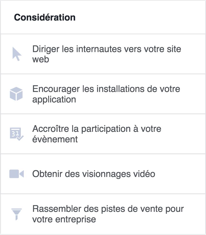Objectifs de considération sur Facebook