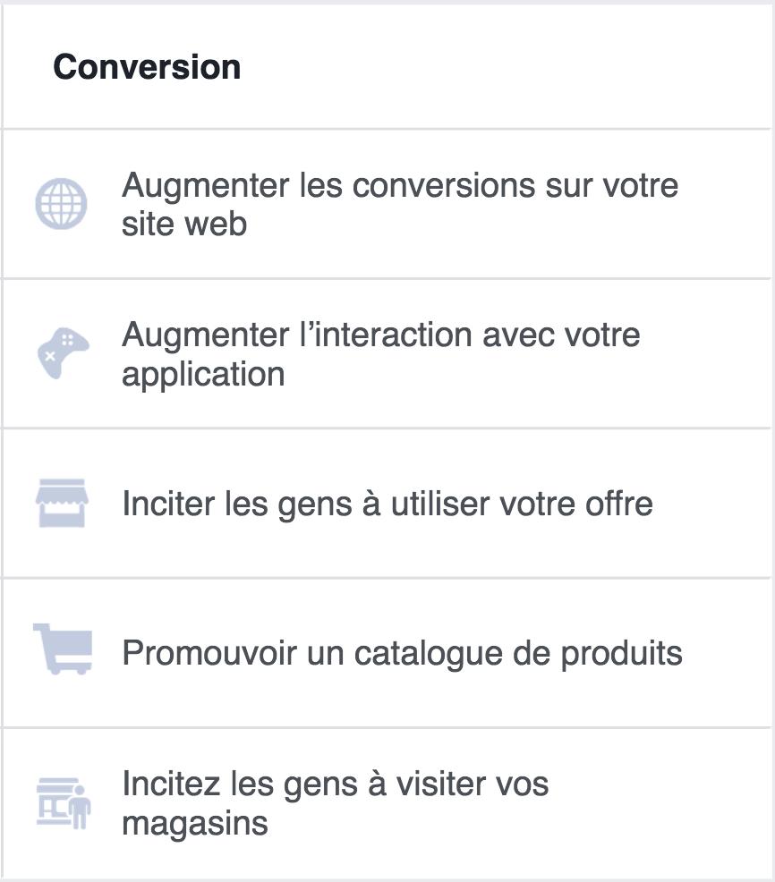 Objectifs de conversion sur Facebook