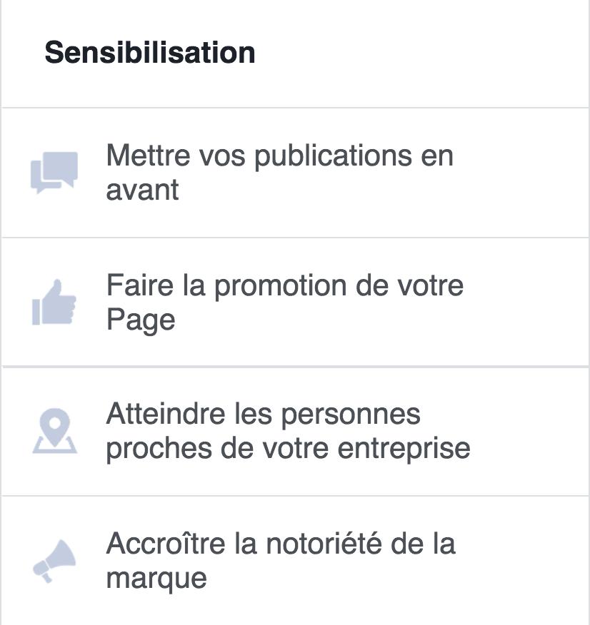 Les objectifs de sensibilisation sur Facebook