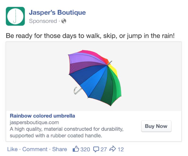 Exemple de publicité pour un catalogue de produits sur Facebook
