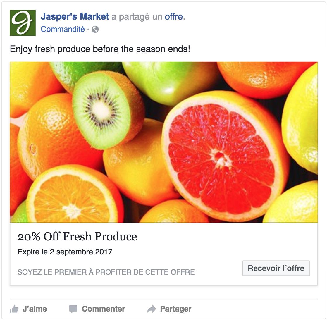 Exemple d'offre publicitaire sur Facebook