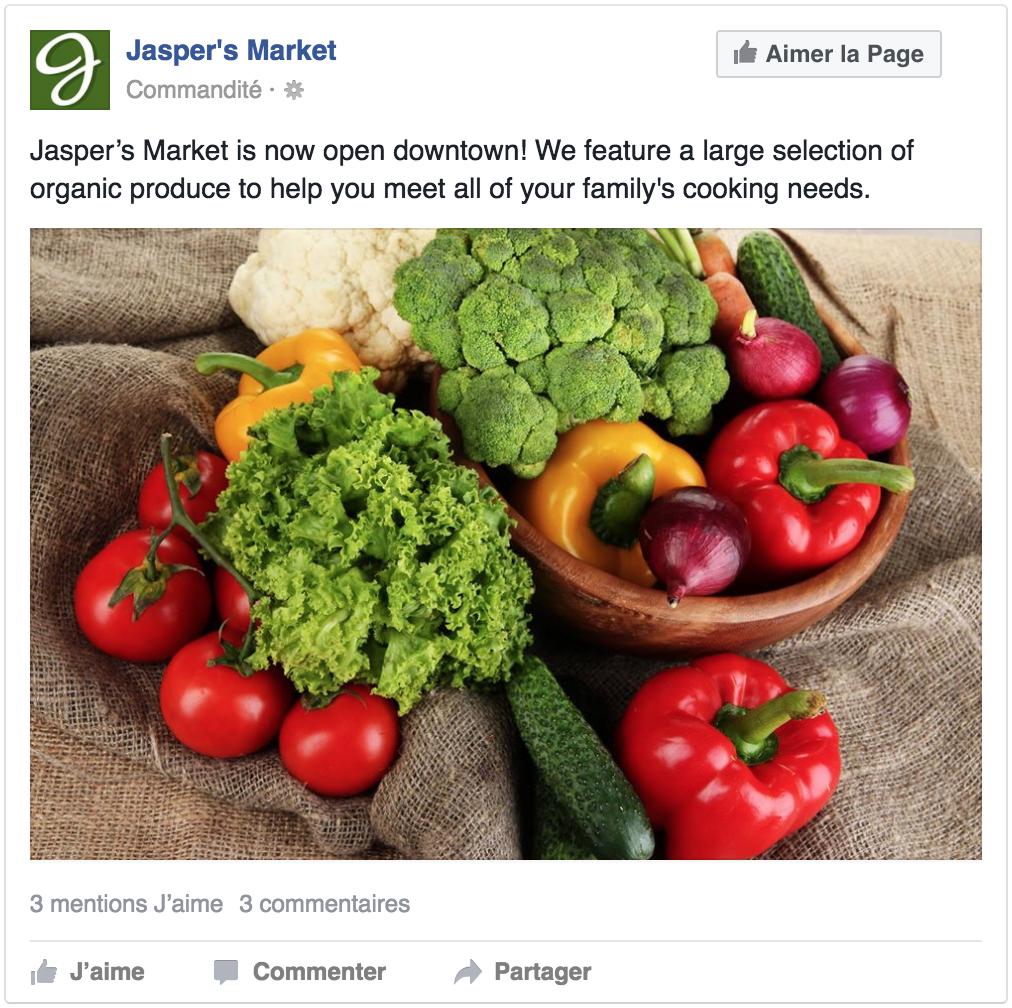 Exemple de publicité visant à inciter plus d'interaction pour une publication