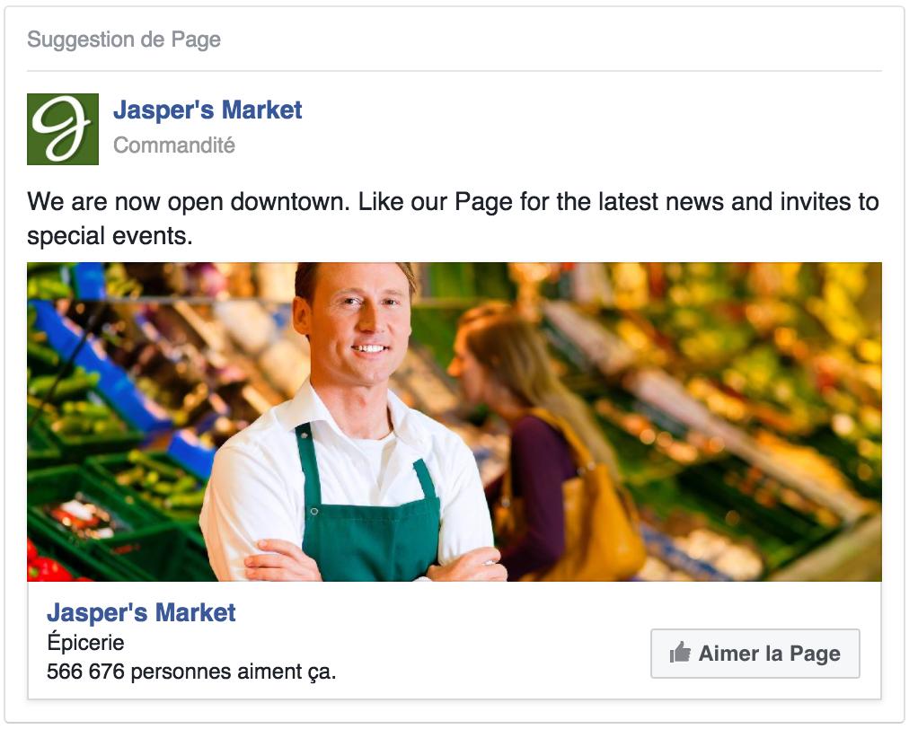 Exemple de publicité pour augmenter le nombre d'adeptes sur votre page Facebook