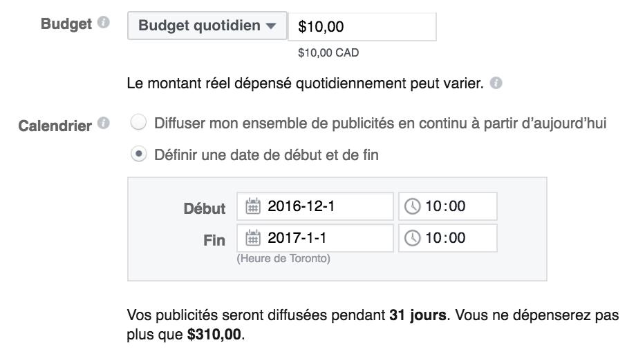 Définir votre budget publicitaire Facebook