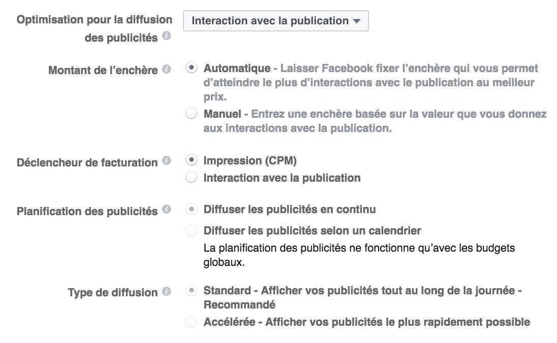 Définir les enchères Facebook