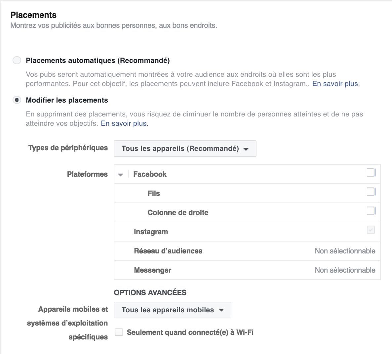 Définir le placement publicitaire Facebook
