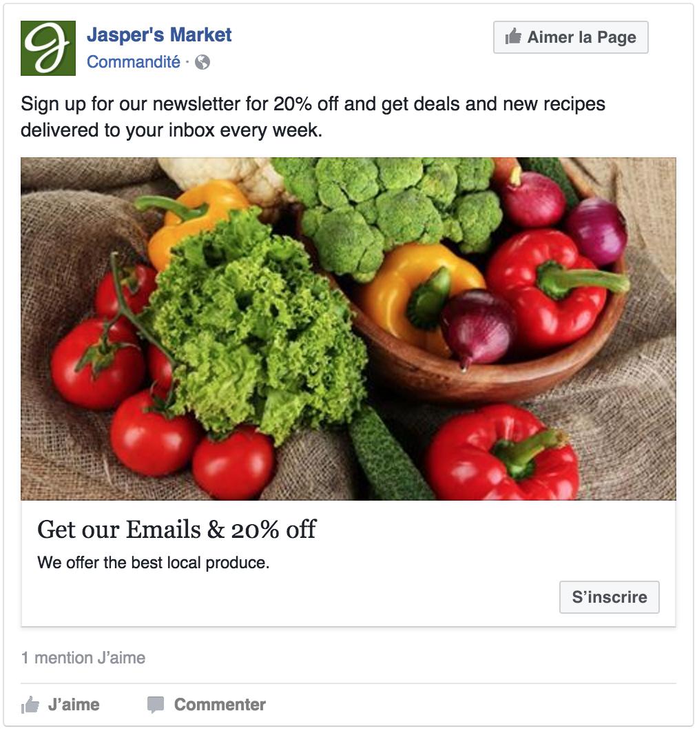 Exemple de publicité pour générer des leads de ventes
