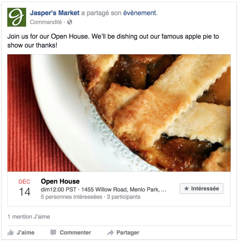 Publicité d'événement sur Facebook