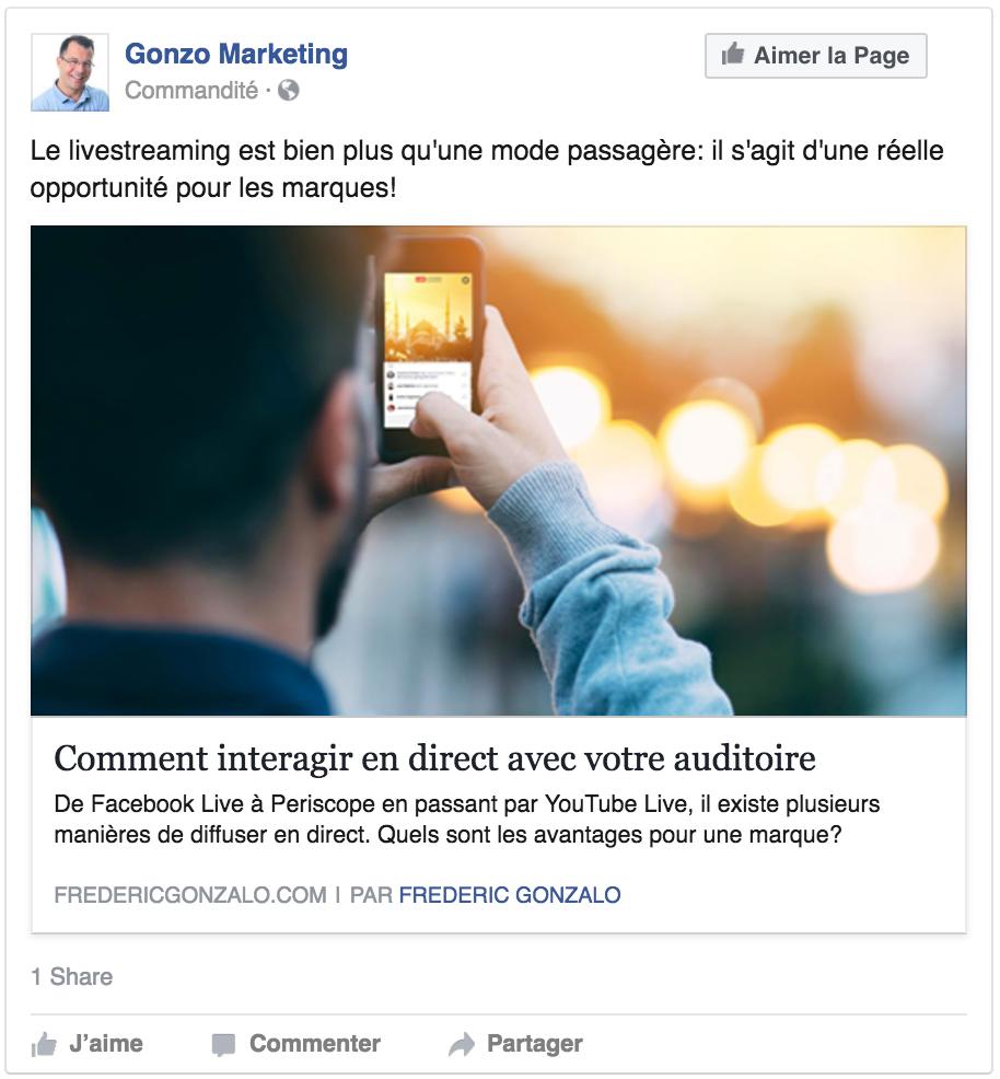 Publicité de type image unique sur Facebook