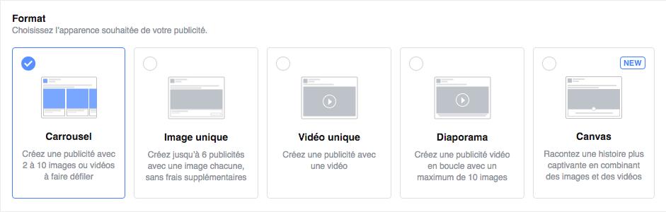 Format des publicités Facebook