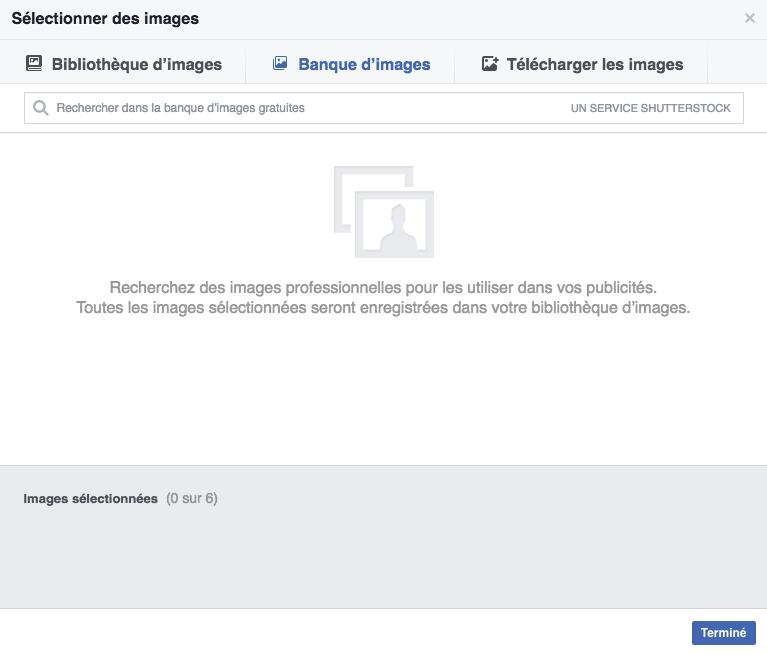 Sélection d'images dans Facebook
