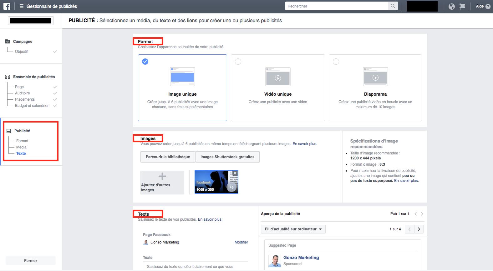 Structure publicitaire dans Facebook
