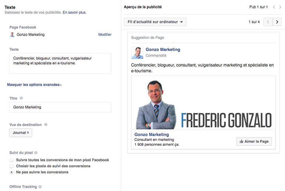 Rédaction des textes publicitaires dans Facebook