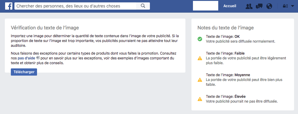 Vérification de l'image par Facebook