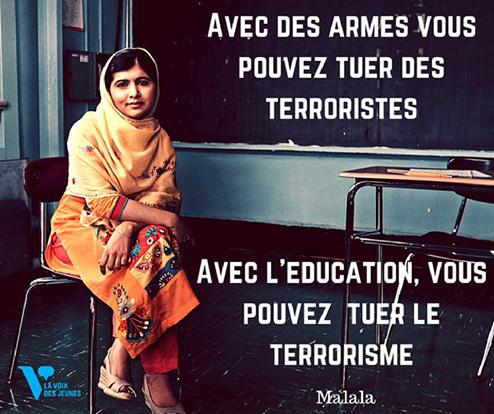 Citation célébre de Malala Yousafzay, recipiendaire du prix Nobel de la paix