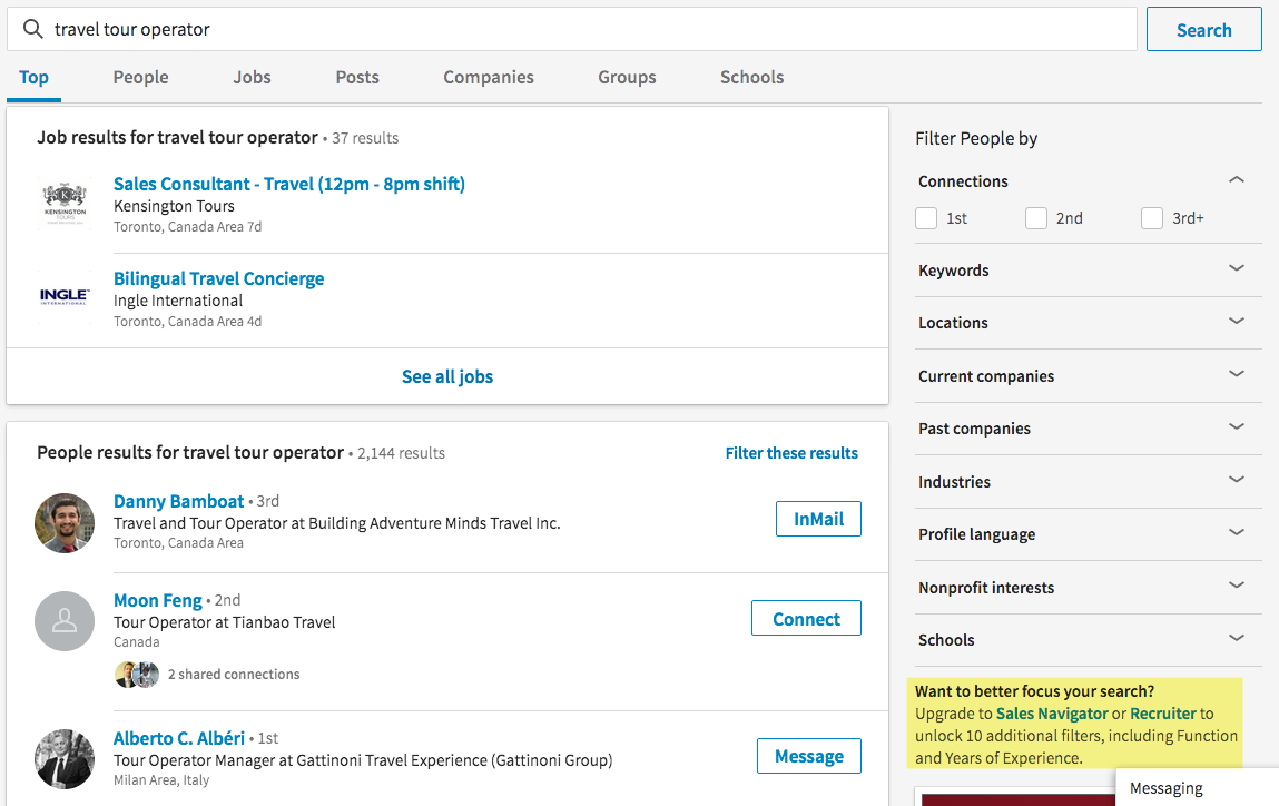 Linkedin's newly redesigned search tool