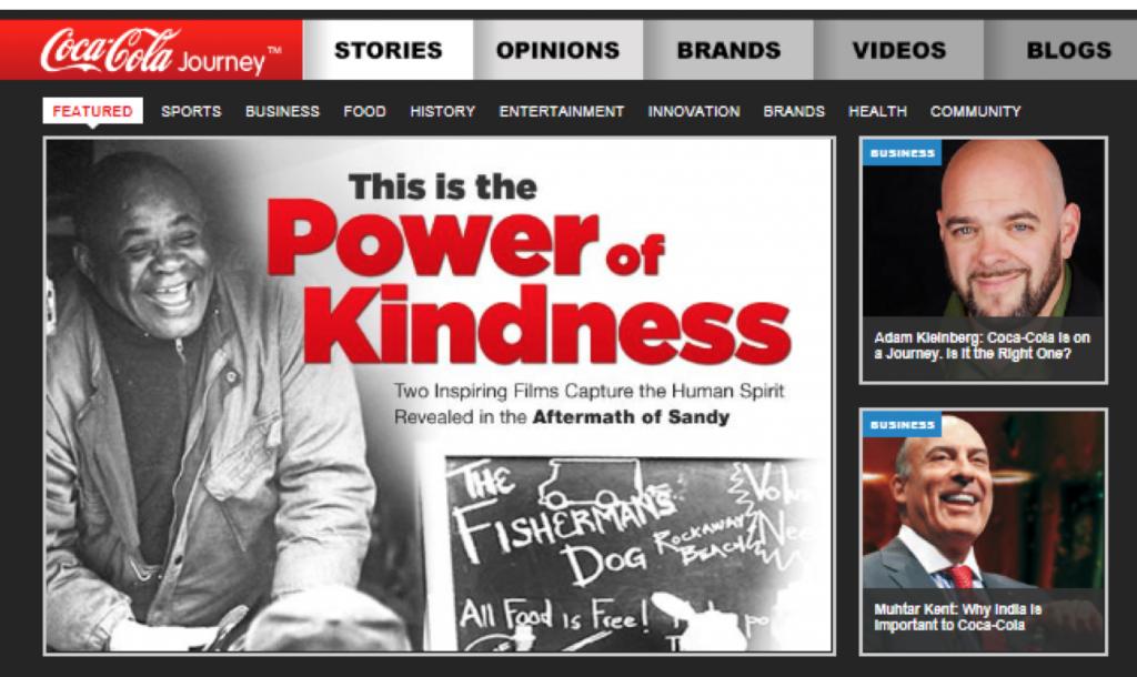 Capture d'écran site Coca Cola, circa 2011
