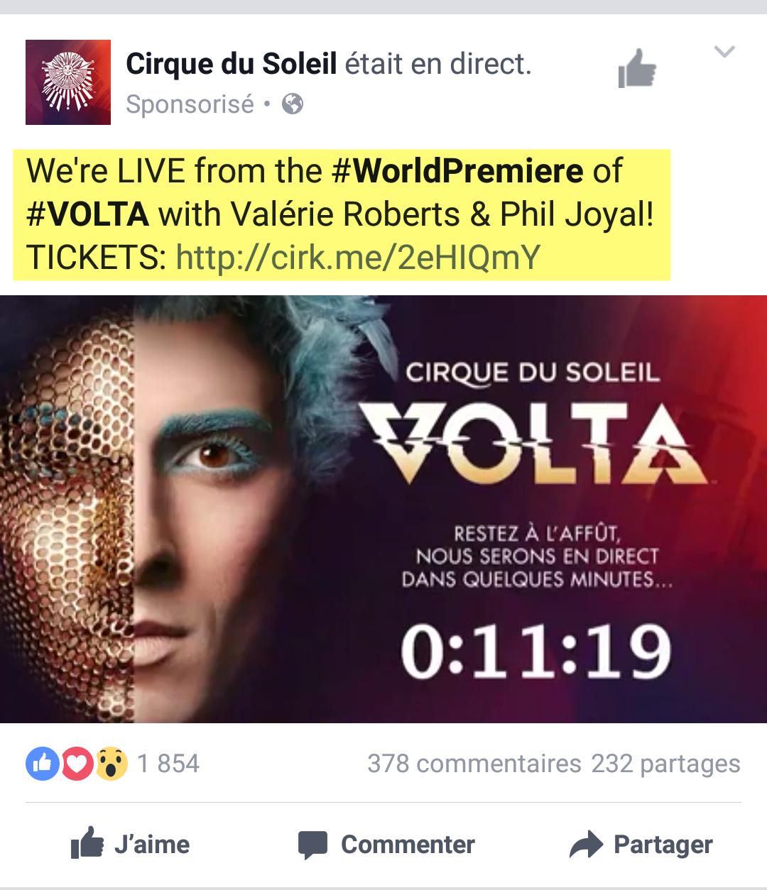 Cirque du Soleil Facebook LIve for Volta
