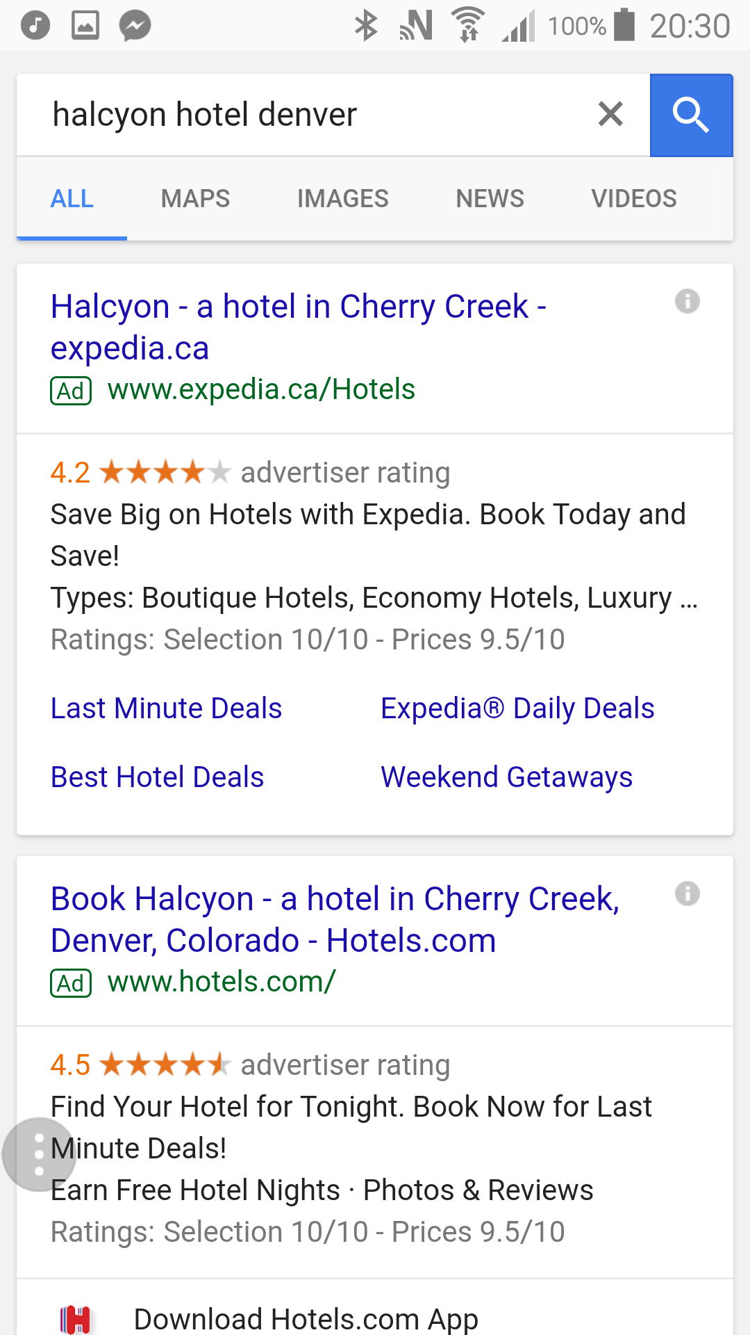 Halcyon Hotel Mobile Search