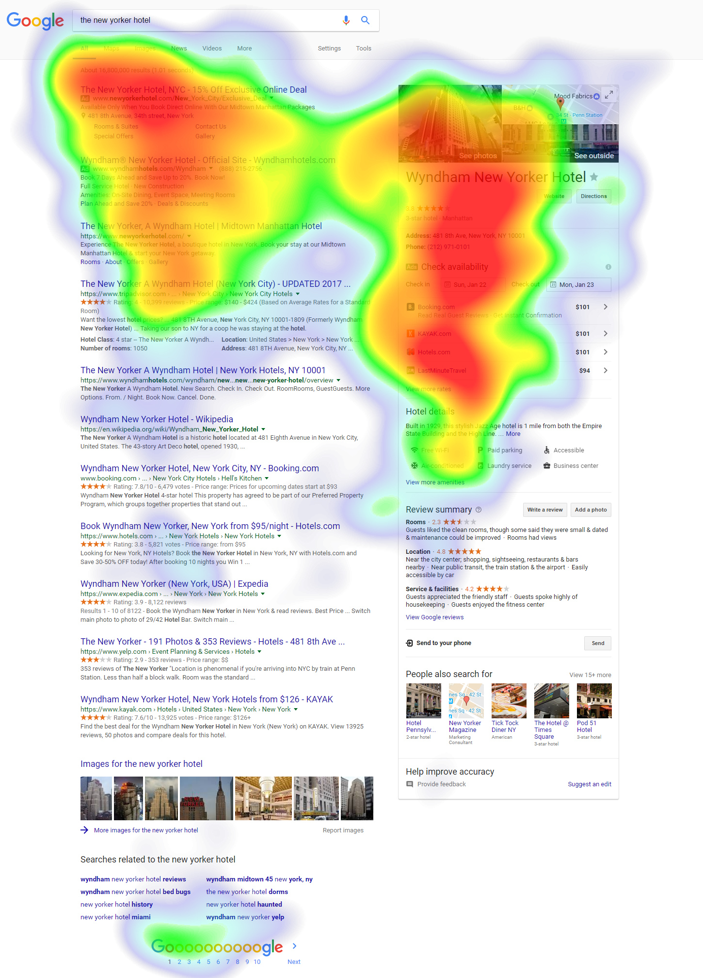 The New Yorker Hotel Heat Map. Source: Travel Tripper.