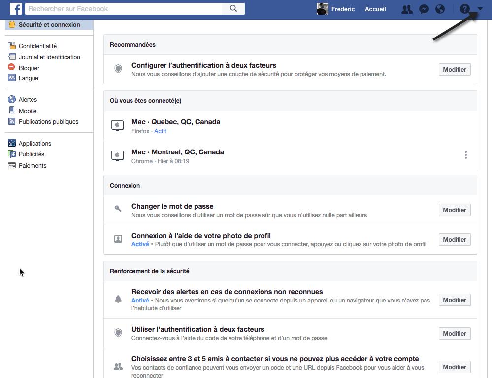 Paramètres de sécurité et connexion dans Facebook