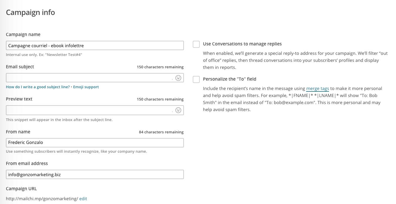 Définir l'objet (sujet) de votre campagne courriel