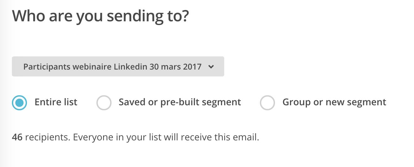 Choisir la liste d'envoi dans MailChimp