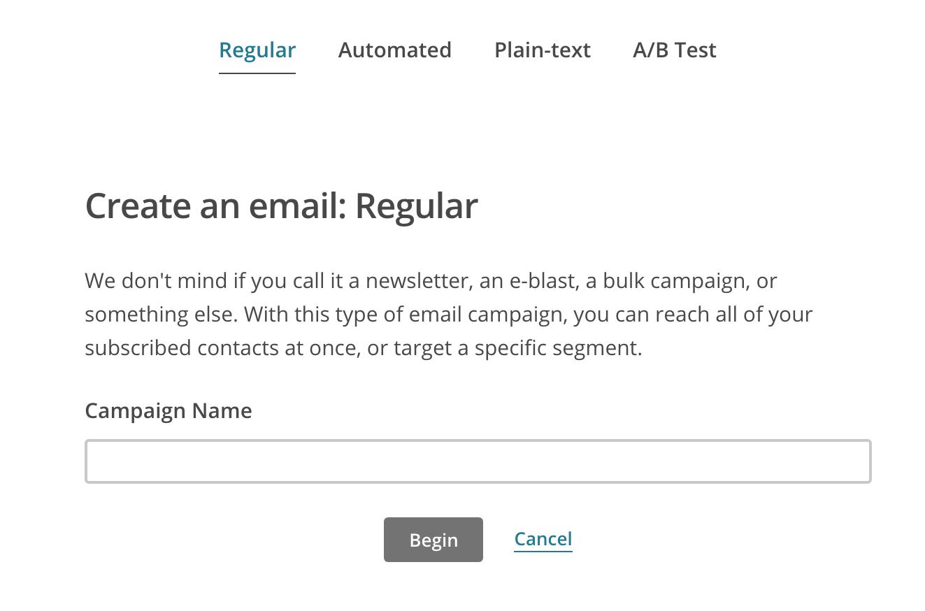 Création de newsletter dans MailChimp