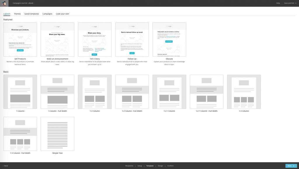 Exemple de gabarits dans la plateforme MailChimp