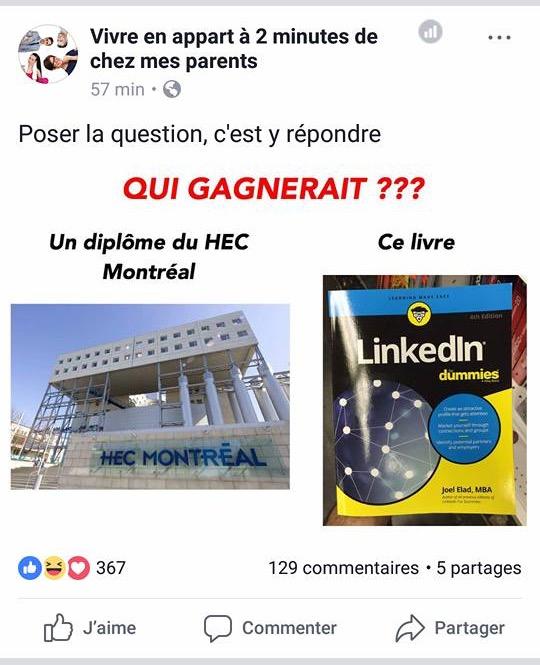 Exemple de notification sur Facebook pour HEC Montreal