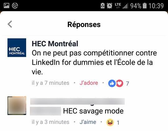 Réponse du gestionnaire de communauté de HEC Montréal