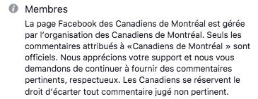 Politique Facebook des Canadiens de Montréal
