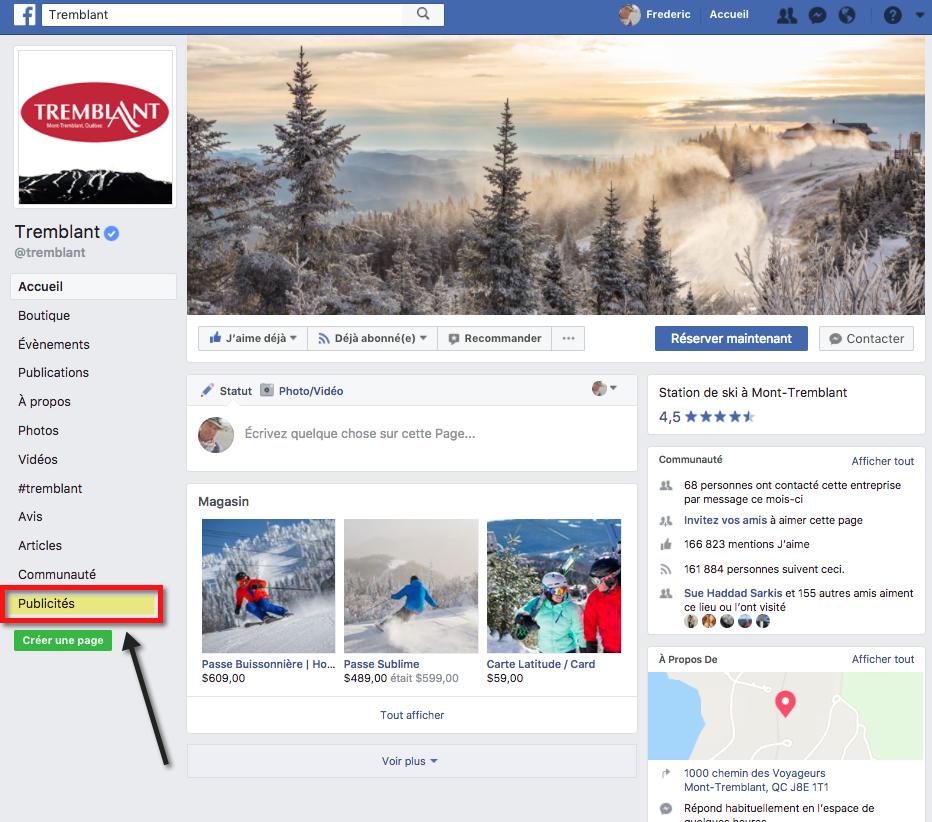 On peut maintenant voir le placement publicitaire effectué par une page Facebook